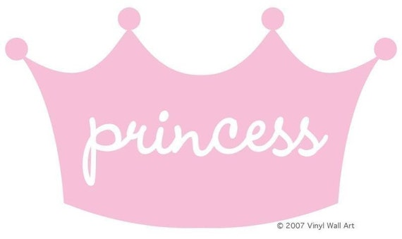 Princess Crown Vinyl Wall Decal size MEDIUM - Little Girl Decal, Children's Room Decor, Nursery Design, Princess Design, Crown Decal