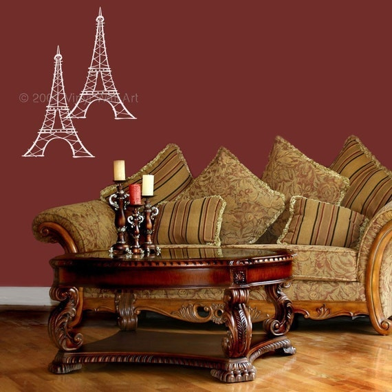 Small Eiffel Tower Wall Decor : Eiffel tower vinyl decal size small home by abbysvinylwallart