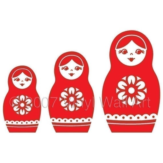 Nesting Dolls Vinyl Decal (Set of 3) size LARGE - Home Decor, Office Decor, Bedroom Decal, Travel Design, Russian Design,