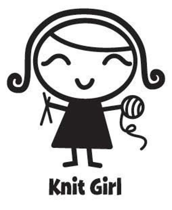 Knit Girl Vinyl Car Decal - Car Sticker, Laptop Sticker, Window Decal, Personalized Decal,