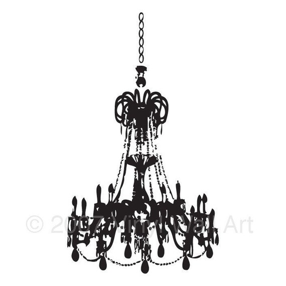 Large Grunge Chandelier Wall Decal By AbbysVinylWallArt On