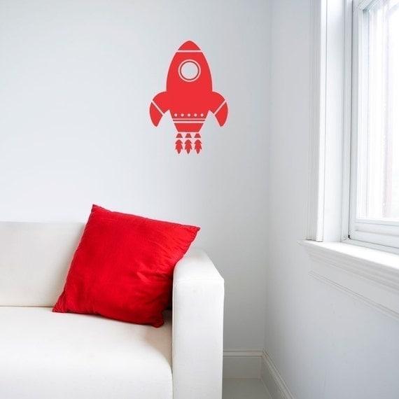 Medium Rocket Ship Wall Decal By Abbysvinylwallart On Etsy