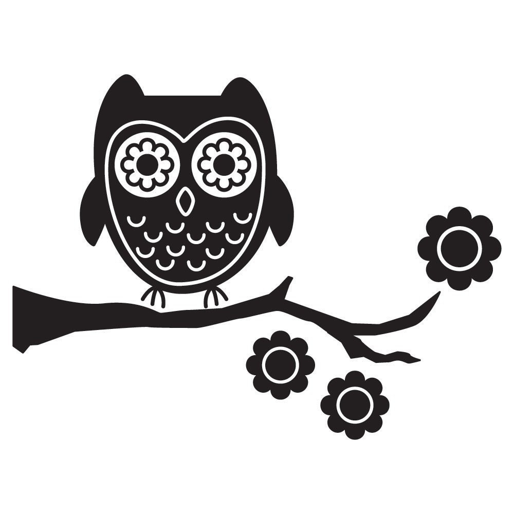 owl wall art decal. Black Bedroom Furniture Sets. Home Design Ideas