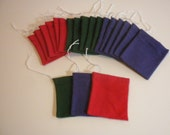 Lot of 5 flannel curio bags for mojo hands, 3 colors-- you pick. Handmade in US