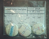 Recycled Map Road Trip Badges - Downtown Los Angeles No. 18 by Minor Thread