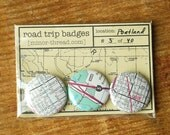 Road Trip Badges - Portland, Ore. No. 05 by Minor Thread  FREE SHIPPING