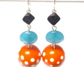 MISSED YOUR MID-TERMS and FLUNKED SHAMPOO Vintage Polka Dot Lucite Beaded Earrings