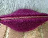 SALE Felted zippered pouch in maroon