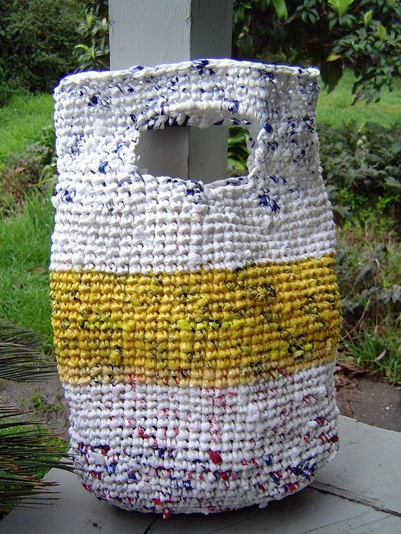 Crochet Grocery Bags : Bag crocheted with plastic grocery bags Recycled by frenchie