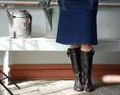 SALE Womens Denim Skirt Dark Indigo Skirt navy Stretch cotton skirt Architect skirt aline pocket skirt blue jean skirt knee length skirt