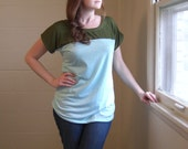 Olive and Aqua Color Block Tunic - Short Dolman Sleeve