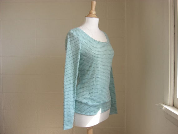 Sweater Long Sleeve in Aqua Turquoise Dot - Ready to Ship Size Medium