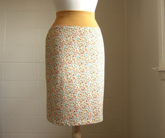 LAST ONE Womens Mustard Yellow Floral Print Pencil Skirt Stretch Cotton - Made to Order