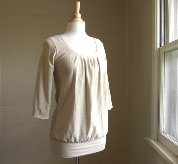 3/4 Sleeve Scoop Neck Bubble Top - Ready to Ship Size Small