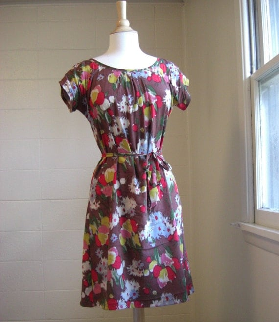 Womens Floral Print Summer Dress with Short Sleeves- Made to Order