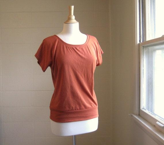 Autumn Short Sleeve Tshirt Rust Orange Sweater Knit - Ready to Ship Size Medium