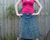 Reconstructed Squared Geometrics Denim Skirt - medium