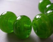 Handmade Lampwork Green Glass Beads Ericabeads Candied Lime (6)