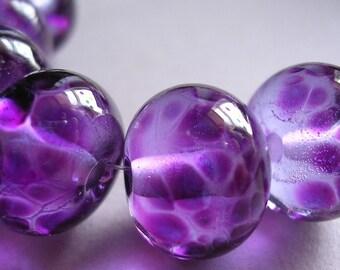 Lampwork Glass Purple Handmade Beads Ericabeads Intense Purple (6)