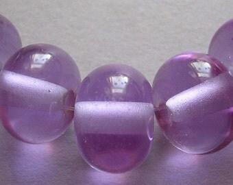 Lampwork Beads Purple Glass Handmade Ericabeads Lavender Blush Spacers (6)