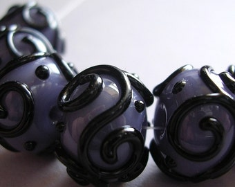 Glass Lampwork Purple Handmade Beads Ericabeads Scrolled Grape Purple (6)