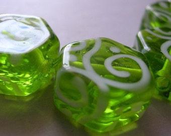 Handmade Glass Green Lampwork Beads Ericabeads Apple Green Hex  (4)