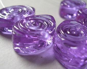 Handmade Beads Purple Lavender Violet Lampwork Glass Ericabeads  Lavender Spiral Zulus (6)