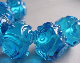 Beads Handmade Lampwork Glass Aqua Turquoise Ericabeads Scrolled Sparklies (6)