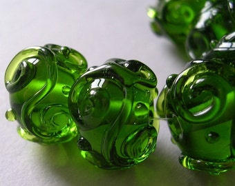 Lampwork Beads Green Glass Handmade Ericabeads Bottle Green Scrolled Sparklies (6)