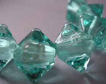 Handmade Glass Aqua Lampwork Beads Ericabeads Aqua Crystal Spacers (6)