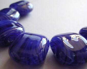 Lampwork Beads Blue Handmade Glass Ericabeads Blue Moon Squeezes (6)
