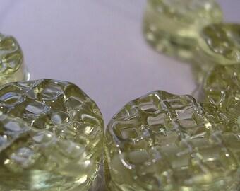 CLEARANCE 20% Handmade Glass Yellow Lampwork Beads Ericabeads Pale Yellow Waffle Tabs (6)