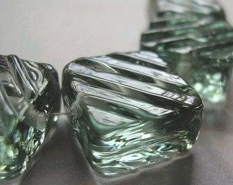 Glass Lampwork Gray Handmade Beads Ericabeads Steel Grey Groovy Tiles (6)
