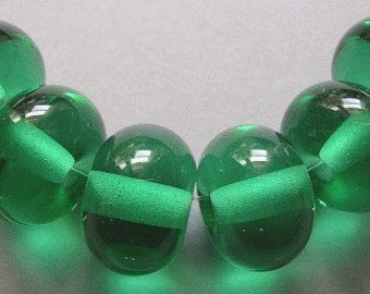 Handmade Lampwork Blue Green Glass Beads Ericabeads Teal Spacers (6)