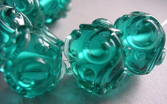 Handmade Lampwork Beads Aqua Blue Green Teal Ericabeads Scrolled Sparklies (6)