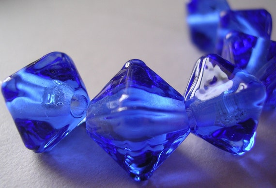 Beads Lampwork  Blue Handmade Glass Ericabeads Blue Crystal Spacers (6)