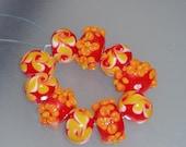 Pumpkin colors Lampwork Beads