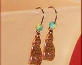 Swirly Tail Copper Kitty Earrings