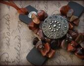 Cross Ornament Poppy Jasper Metal Button Focal