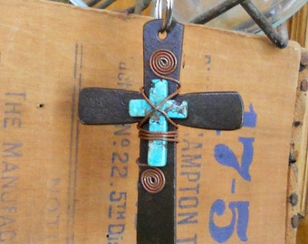 Cross Key Ring with Turquoise Cross Center