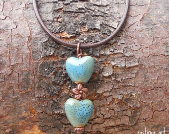 Trinity Necklace-Blue Speckled Ceramic Hearts Valentine's Day
