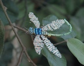 Teal-blue Beaded Dragonfly Pin