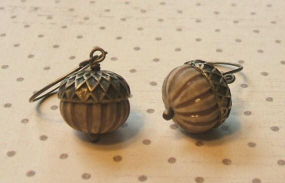 Sweet Acorn. Brass Earrings