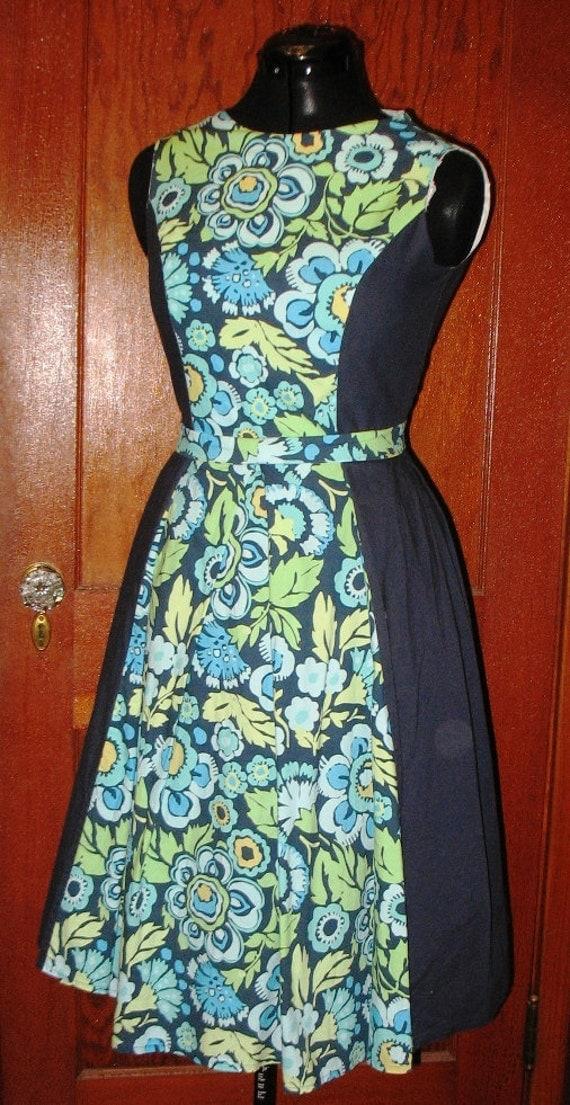 SALE Blue Floral Two Toned Dress