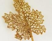 Gold Glitter CLIP Leaf Fascinator reserved for Melissa