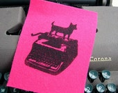pink typing dog patch