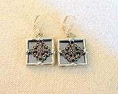 Silver Grey Mirror Glass Earrings
