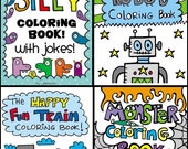 SET of 4 Printable Digital PDF Coloring Books