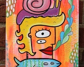 Original Mixed Media Surreal Pop Art Painting Snail Fish Girl Blowing Bubbles