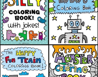 SET of 4 Printable Digital PDF Coloring Books